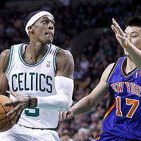 04 March 2012: Boston Celtics point guard Rajon Rondo (9) drives past New York Knicks point guard Jeremy Lin (17) during the first half of Boston Celtics vs the New York Knicks at the TD Garden, Boston, Massachusetts, USA.