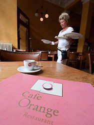 Interior of Jewish kosher Cafe Orange in historic Scheunenviertel district of Berlin Germany