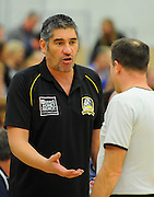 Mountains Airs coach Daryn Shaw during the Bartercard NBL game Nelson Giants v Taranaki Mountain Airs at Saxton Stadium, Nelson, New Zealand. Saturday 3 May 2014. Photo: Chris Symes/www.photosport.co.nz