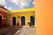 Historic traditional homes along Calle Vertud Old San Juan, Puerto Rico.