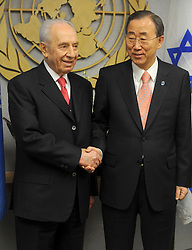 Shimon Peres (L), President of Israel shakes hands with United Nations Secretary General Ban Ki-Moon before their meeting at UN headquarters in New York on April 08, 2011. Photo by Dennis Van Tine/ABACAPRESS.COM