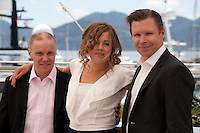 Actors  Jarkko Lahti, Oona Airola, and Eero Milonoff at The Happiest Day In The Life Of Olli Maki film photo call at the 69th Cannes Film Festival Thursday 19th May 2016, Cannes, France. Photography: Doreen Kennedy