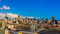 Central Business District with Nelson Mandela Bridge, Johannesburg, South Africa.