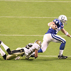 2010 February 07: New Orleans Saints cornerback Jabari Greer (32) tackles Indianapolis Colts tight end Dallas Clark (44) during a 31-17 win by the New Orleans Saints over the Indianapolis Colts in Super Bowl XLIV at Sun Life Stadium in Miami Gardens, Florida.