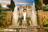 The water jets of the Organ fountain, 1566, housing organ pipies driven by air from the fountains. Villa d'Este, Tivoli, Italy - Unesco World Heritage Site. .<br /> <br /> Visit our ITALY PHOTO COLLECTION for more   photos of Italy to download or buy as prints https://funkystock.photoshelter.com/gallery-collection/2b-Pictures-Images-of-Italy-Photos-of-Italian-Historic-Landmark-Sites/C0000qxA2zGFjd_k<br /> If you prefer to buy from our ALAMY PHOTO LIBRARY  Collection visit : https://www.alamy.com/portfolio/paul-williams-funkystock/villa-este-tivoli.html