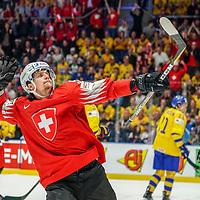 18.05.2019; Bratislava; Eishockey Weltmeisterschaft 2019 - Schweden - Schweiz; Gaetan Haas (SUI) jubelt nach dem Tor zum 3:3 (Andy Mueller/freshfocus)