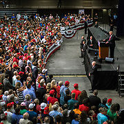 Republican Presidential nominee, Donald Trump, addresses a crowd of supporters at a rally in Asheville, NC.