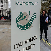 """London, UK. 1st April, 2017. TADHAMUN """"Iraq Women Solidarity"""" protest against US bombing of Mosul killed over 200 civilians on 17th Marck 2017 at West Mosul. Protests demand the bombing to Stop, In fact US is not bombing ISIS but civilians. Why you killing us? outside Downing street,London,UK. by See Li"""
