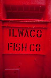Crate at Jessie's Ilwaco Fish Co., Ilwaco, Washington, US