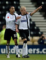 Photo: Glyn Thomas.<br />Derby County v Norwich City. Coca Cola Championship.<br />03/12/2005.<br />Derby's Andy Davies (R) celebrates with Dexter Blackstock after giving his side a 1-0 lead.