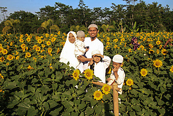 June 15, 2018 - Sleman, SPECIAL REGION YOGYAKARTA, INDONESIA - The young Muslim family is in the garden of Sunflower plant after attending Eid prayer in Hargobinangun, Pakem, Sleman, Yogyakarta, Indonesia, on June 15, 2018 in Yogyakarta, Indonesia. Muslims around the world celebrate Eid al-Fitr with Ramadan, the holy month of fasting. (Credit Image: © Slamet Riyadi via ZUMA Wire)