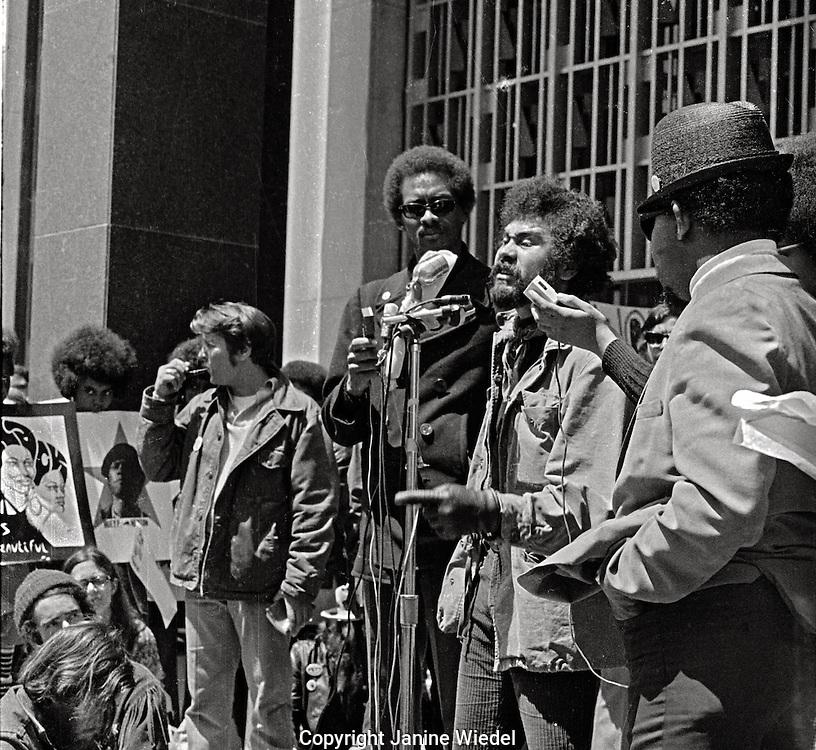 Jerry Rubin talking at Black Panther Rally at Federal Building San Franciso California 1969
