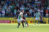 Luke Ayling of Yeovil Town and Garath McCleary of Reading during the Skybet championship match, Yeovil Town v Reading at Huish Park in Yeovil on Saturday 31st August 2013. <br /> Picture by Sophie Elbourn, Andrew Orchard sports photography,