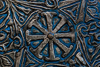 An ornate, timeworn oriental shield stands the test of time.