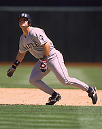 OAKLAND - 1996:  Edgar Martinez of the Seattle Mariners runs the bases during an MLB game versus the Oakland Athletics at the Oakland Coliseum in Oakland, California during the 1996 season. (Photo by Ron Vesely) Subject:   Edgar Martinez