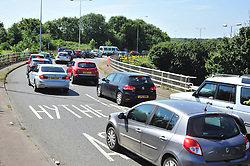 © Licensed to London News Pictures. 23/07/2016<br /> Dover bound traffic and local traffic coming OFF the M20 at Junction 11 and heading towards Hythe to avoid the queueing traffic into Dover because of very long delays at French border contol. <br /> <br /> <br /> (Byline:Grant Falvey/LNP)