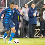 EAST HARTFORD, CONNECTICUT- October 16th:  Reggie Cannon #18 of the United States in action during the United States Vs Peru International Friendly soccer match at Pratt & Whitney Stadium, Rentschler Field on October 16th 2018 in East Hartford, Connecticut. (Photo by Tim Clayton/Corbis via Getty Images)