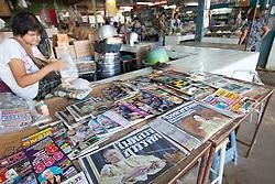 October 14, 2016 - Bangkok, Prachinburi, Thailand - A local bookstand newspaper the headline of the passing of Thailand's King Bhumibol Adulyadej in Prachinburi Province Thailand, October 14, 2016  (Credit Image: © Panupong Changchai/NurPhoto via ZUMA Press)