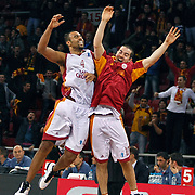 Galatasaray Cafe Crown's Joshua Ian SHIPP (L) and Taylor ROCHESTIE (R) celebrate victory during their ULEB Eurocup Quarterfinals last 16 group K game 3 basketball match Galatasaray between CEZ Nymburk at the Abdi Ipekci Arena in Istanbul at Turkey on Tuesday, February, 01, 2011. Photo by TURKPIX