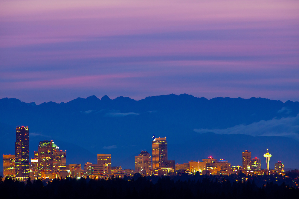North America, United States, Washington, Seattle, downtown skyline with Space Needle and Olympic Mountains at sunset