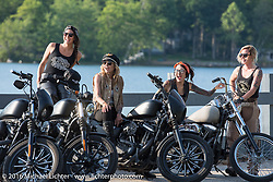 Iron Lilies (left to right) Lilly James, Leticia Cline, Kissa Von Addams and Dana Cooley out riding during Laconia Motorcycle Week 2016. NH, USA. Sunday, June 19, 2016.  Photography ©2016 Michael Lichter