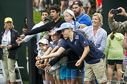 May 5, 2019 - Charlotte, North Carolina, United States of America - Kids fight over a golf ball after Sergio Garcia tossed it in their direction after finishing up on the eighteenth hole during the final round of the 2019 Wells Fargo Championship at Quail Hollow Club on May 05, 2019 in Charlotte, North Carolina. (Credit Image: © Spencer Lee/ZUMA Wire)