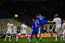 November 15, 2018 - Athens, Attiki, Greece - Effort of Socratis Papastathopoulos (no 19) of Greece, to score. (Credit Image: © Dimitrios Karvountzis/Pacific Press via ZUMA Wire)