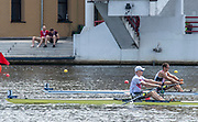 Poznan, POLAND, 22nd June 2019, Saturday,   Men's Single Sculls, Semi Final, all Scandinavian Affair,   {R} DEN M1X, Sverri  NIELSEN  and {L} Kjetil BORCH, approaching the finish line, in the FISA World Rowing Cup II, Malta Lake Course, © Peter SPURRIER.<br /> <br /> 13:21:26