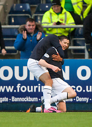 Falkirk's Conor McGrandles cele scoring their first goal.<br /> Falkirk 2 v 0 Dundee, Scottish Championship game at The Falkirk Stadium.<br /> © Michael Schofield.