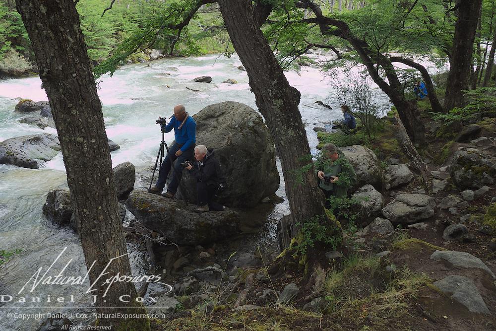 Explorers photographing the beautiful De las Vueltas river north of El Chalten, Patagonia, Argentina.