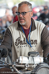 Steve Rinker at the finish line in Williams during the Motorcycle Cannonball Race of the Century. Stage-12 ride from Page, AZ to Williams, AZ. USA. Thursday September 22, 2016. Photography ©2016 Michael Lichter.