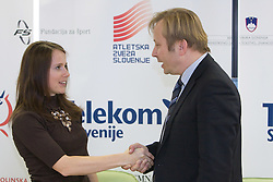 Tina Murn and Peter Kukovica when Slovenian athletes and their coaches sign contracts with Athletic federation of Slovenia for year 2009,  in AZS, Ljubljana, Slovenia, on March 2, 2009. (Photo by Vid Ponikvar / Sportida)