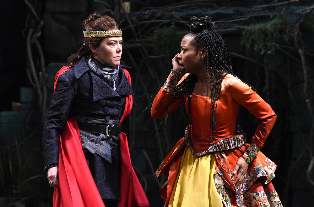 """Mara Lavitt -- Special to the Hartford Courant<br /> March 24, 2016<br /> The run-through of William Shakespeare's """"Cymbeline,"""" at the University Theatre at Yale. Kathryn Meisle as Cymbeline, King of Britain, left, and Sheria Irving as Imogen, Cymbeline's daughter."""