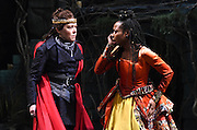 "Mara Lavitt -- Special to the Hartford Courant<br /> March 24, 2016<br /> The run-through of William Shakespeare's ""Cymbeline,"" at the University Theatre at Yale. Kathryn Meisle as Cymbeline, King of Britain, left, and Sheria Irving as Imogen, Cymbeline's daughter."
