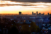 London skyline at dusk photographed from Highgate