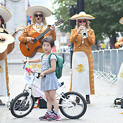 Mariachi Las Adelitas UK performs at the Prudential RideLondon FreeCycle at Whitehall on 28 July 2018, London, UK