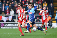 Wycombe Wanderers Jason McCarthy(26) challenges  Sunderland's Jimmy Dunne (30) *** during the EFL Sky Bet League 1 match between Wycombe Wanderers and Sunderland at Adams Park, High Wycombe, England on 9 March 2019.