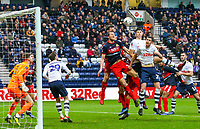 Preston North End's Paul Huntington and Jordan Storey compete in the air<br /> <br /> Photographer Alex Dodd/CameraSport<br /> <br /> The Emirates FA Cup Third Round - Preston North End v Doncaster Rovers - Sunday 6th January 2019 - Deepdale Stadium - Preston<br />  <br /> World Copyright © 2019 CameraSport. All rights reserved. 43 Linden Ave. Countesthorpe. Leicester. England. LE8 5PG - Tel: +44 (0) 116 277 4147 - admin@camerasport.com - www.camerasport.com