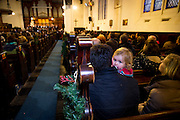 NO FEE PICTURES<br /> 1/1/16 Lucy Hanley, age 2, with her parents Brian and Ciara watching singers from Our Lady's Choral Society join The Dublin Handelian Orchestra for a free performance of Handel's Messiah watched by a full house at Findlaters Church, part of the New Years Festival in Dublin. nyf.com running from 30th Dec to 1st Jan in Dublin. Picture: Arthur Carron