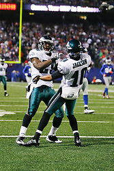 Philadelphia Eagles running back LeSean McCoy #29 reacts after a play with wide receiver DeSean Jackson #10 during the NFL game between the Philadelphia Eagles and the New York Giants on December 13th 2009. The Eagles won 45-38 at Giants Stadium in East Rutherford, New Jersey. (Photo By Brian Garfinkel)
