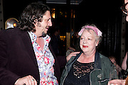JAY RAYNER; JO BRAND, Massimo's restaurant at the Corinthia Hotel, Whitehall  host the after party  for 'Claire Rayner's benefit show' 5 June 2011. <br /> <br />  , -DO NOT ARCHIVE-© Copyright Photograph by Dafydd Jones. 248 Clapham Rd. London SW9 0PZ. Tel 0207 820 0771. www.dafjones.com.