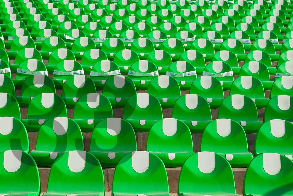 Green stadium seating at the Territorio Santos Modelo sports complex in Mexico. Horizontal shot.