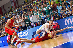 Klemen Prepelic of Slovenia fights for ball with Alejandro Abrines of Spain during basketball match between National teams of Slovenia and Spain in Qualifying Round of U20 Men European Championship Slovenia 2012, on July 18, 2012 in Domzale, Slovenia. Slovenia defeated Spain 70-63. (Photo by Vid Ponikvar / Sportida.com)