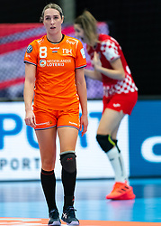 Lois Abbingh of Netherlands disappointed during the Women's EHF Euro 2020 match between Croatia and Netherlands at Sydbank Arena on december 06, 2020 in Kolding, Denmark (Photo by RHF Agency/Ronald Hoogendoorn)