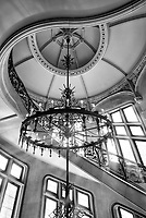 Staircase and chandelier at the Biltmore Estate in Asheville, NC.