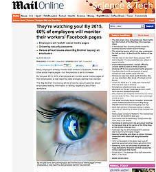 Mail Online; Detail of Facebook logo reflected in eye