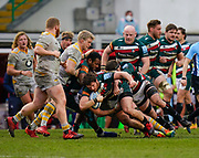 Leicester Tigers hooker Julián Montoya drives at the Wasps forwards during a Gallagher Premiership Round 10 Rugby Union match, Friday, Feb. 20, 2021, in Leicester, United Kingdom. (Steve Flynn/Image of Sport)
