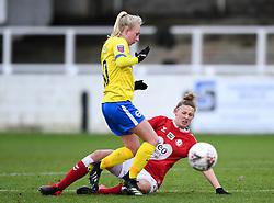 Yana Daniels of Bristol City Women is challenged by Inessa Kaagman of Brighton and Hove Albion - Mandatory by-line: Ryan Hiscott/JMP - 30/01/2021 - FOOTBALL - Twerton Park - Bath, England - Bristol City Women v Brighton and Hove Albion Women - FA Womens Super League 1
