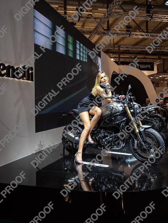 RHO Fieramilano, Milan Italy - November 07, 2019 EICMA Expo. Benelli Leoncino 800 ehibit with a model at EICMA 2019