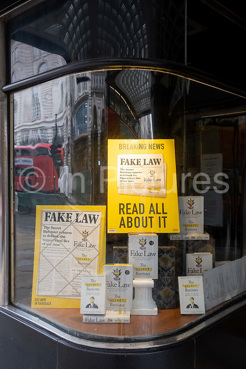 Copies of the book 'Fake Law' by the Secret Barrister, is displayed in the window of Waterstones on Piccadilly the West End, on 5th October 2020, in London, England.